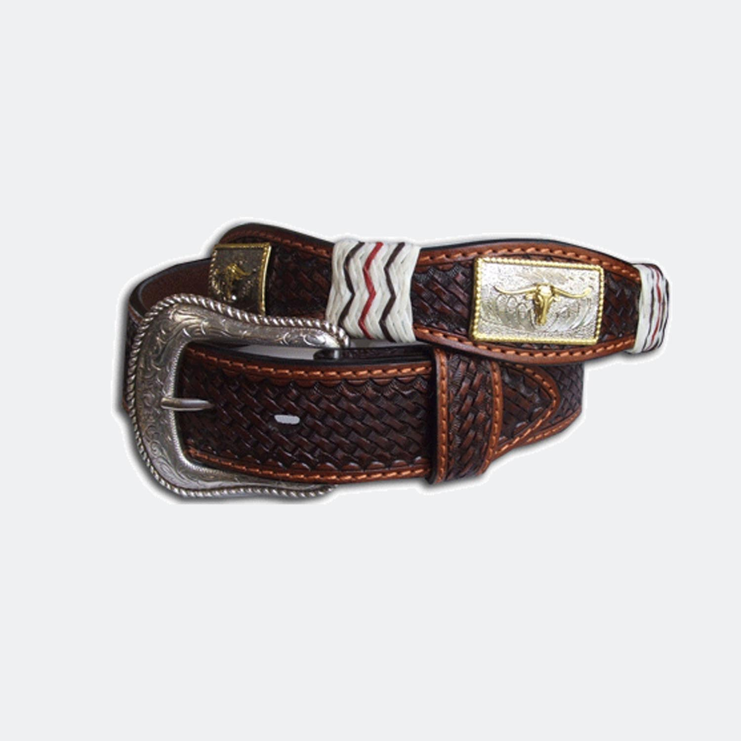 leather belt with bull conchos and buckle pboz australia