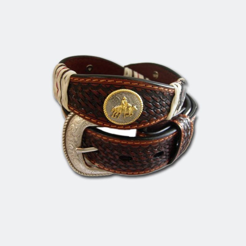 italian leather belt with c drafter conchos and buckle