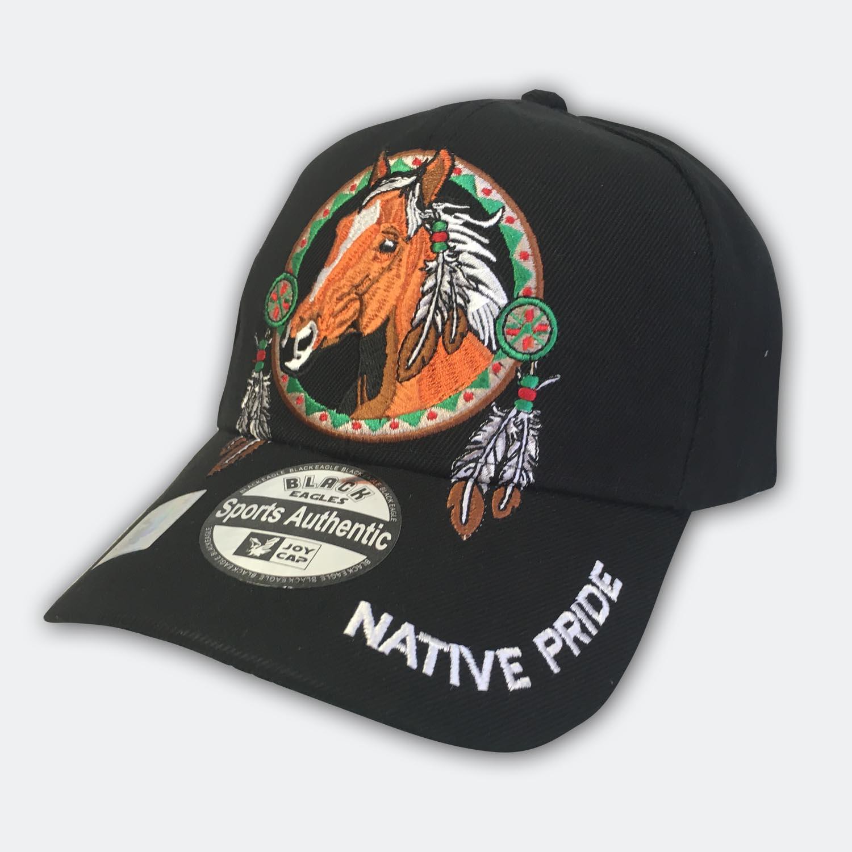 Native Pride Black Horse Cap  8886ca514b2