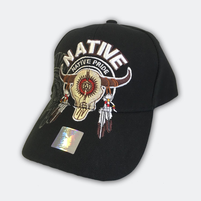 Native Pride Black Indian Bull Skull Cap  a230fb26fd6